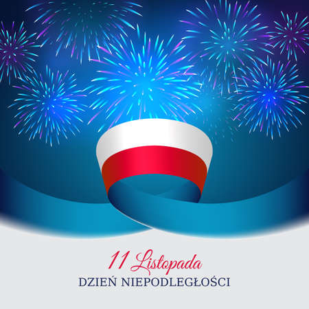 November 11, poland independence day, vector template of the polish flag. National holiday. Blue background with fireworks and flag. Translation: November 11, Independence Day of Poland Foto de archivo - 155038252