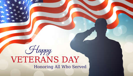 Happy veterans day banner. Waving american flag, silhouette of a saluting us army soldier veteran on bokeh sky background. US national day november 11. Poster, typography design, vector illustration