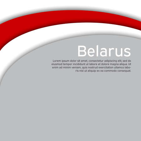 Abstract waving new flag of belarus. Protest actions. Creative background for design of the patriotic banner of Belarus. National Belarusian state business booklet, poster. Paper cut style. Vector Vectores