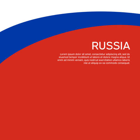 Abstract waving flag of russia. Flat style. Creative background for design of patriotic holiday card. National poster. State russian patriotic cover, flyer. Vector tricolor design Vectores