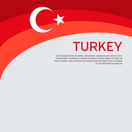 Abstract waving turkey flag. Creative background for the design of patriotic Turkish holiday cards. National poster. Cover, banner in national colors of turkey. Vector illustration Vectores