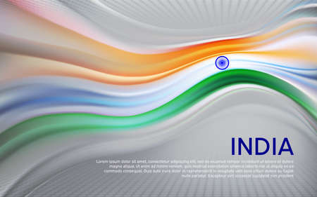 India flag background. Blurred pattern of light lines in the colors of the indian flag, business booklet. State banner, Indian poster, patriotic cover, flyer. Vector tricolor design Foto de archivo - 155284924