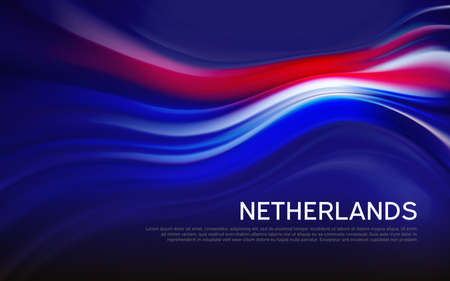 Netherlands flag background. Blurred pattern of light lines in the colors of the Dutch flag, business brochure. State banner, dutch poster, patriotic cover, flyer. Vector tricolor design Foto de archivo - 155284930