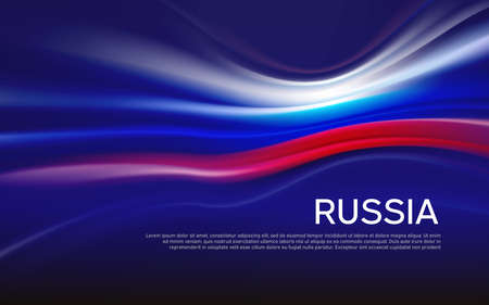 Russia flag background. Blurred pattern of light lines in the colors of the Russian flag, business booklet. State banner, russian poster, patriotic cover, flyer. Vector tricolor design Foto de archivo - 155284934