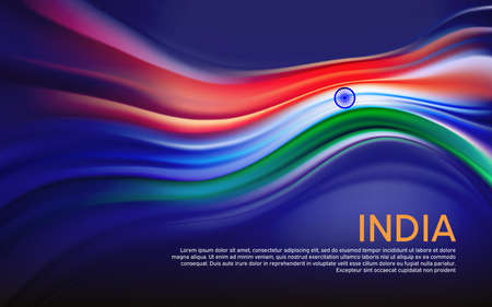 India flag background. Blurred pattern of light lines in the colors of the indian flag, business booklet. State banner, Indian poster, patriotic cover, flyer. Vector tricolor design