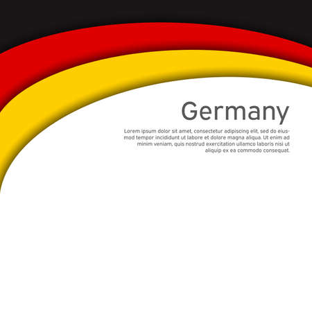 Abstract waving germany flag. Paper cut style. Creative background for design of patriotic holiday card. National poster. State German patriotic cover, flyer. Vector tricolor design Foto de archivo - 155284987