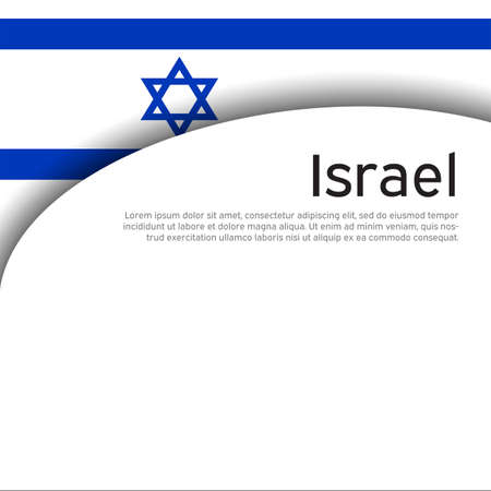 Israel flag background. Israel wavy flag on a white background. National poster. Business booklet. State israeli patriotic flyer, banner. Paper cut style. Vector design Foto de archivo - 155284996