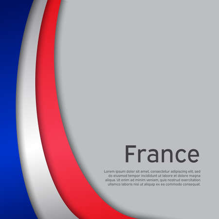 Abstract waving france flag. Paper cut style. Creative background for patriotic, festive card design. National Poster. State French patriotic cover, booklet, flyer. Vector tricolor design Foto de archivo - 155285000