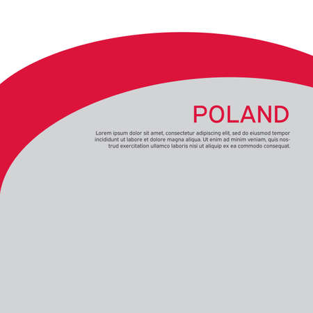 Cover, banner in national colors of Poland. Abstract waving poland flag. Simple flat style. Patriotic cover, business booklet, flyer. National polish poster. Vector design