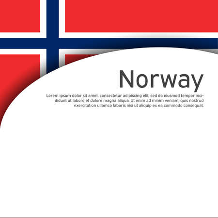 Norway flag on a white wavy background. Business booklet. State Norwegian patriotic banner, flyer. National poster design of norway. Paper cut style. Vector illustration