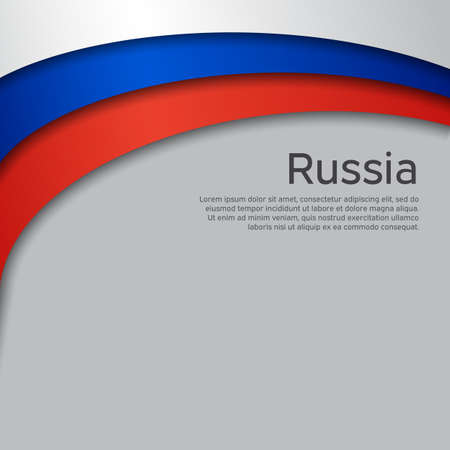 Abstract waving flag of russia. Paper cut style. Creative background for design of patriotic holiday card. National poster. State russian patriotic cover, flyer. Vector tricolor design Foto de archivo - 155285058