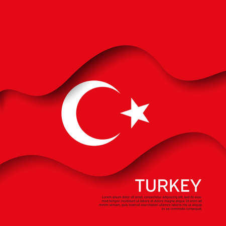 Abstract waving turkey flag. Paper cut style. Creative background for the design of patriotic holiday cards. Graphic abstract background for poster. Vector illustration - turkish flag. Banner Foto de archivo - 155285071