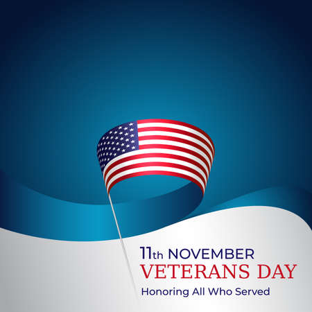 Happy veterans day banner. Waving american flag on blue sky background. US national day november 11. Typography design, poster, vector illustration Foto de archivo - 155285080