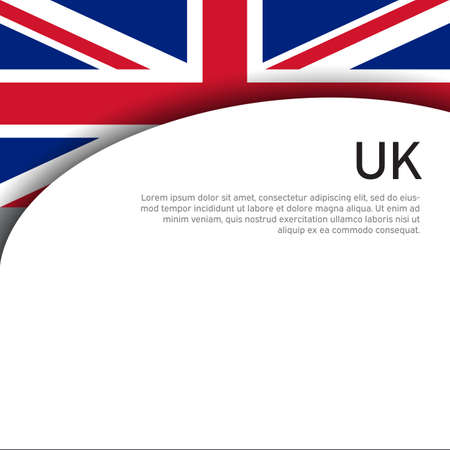 Great Britain flag on a white background. UK flag pattern in cut paper style. National poster of the united kingdom. Great britain state patriotic cover, banner. Vector design Foto de archivo - 155280062