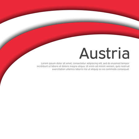 Abstract waving flag of austria. Paper cut style. Creative background for the design of the patriotic holiday card of austria. National poster. Austrian state business booklet, cover. Vector design Foto de archivo - 155285157
