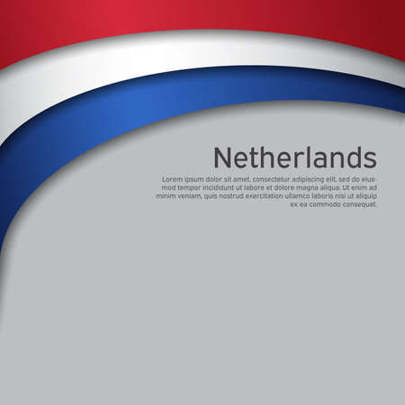 Abstract waving flag of netherlands. Paper cut style. Creative background for patriotic holiday card design. National Poster. Cover, banner in state colors of the Netherlands. Vector tricolor design Vecteurs