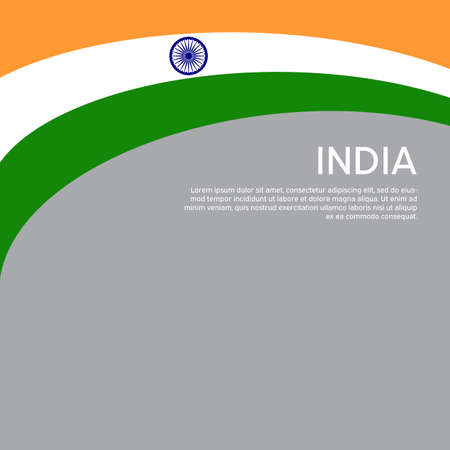 Abstract waving flag of india. Creative background for patriotic holiday card design. National Poster. State Indian patriotic cover, flyer. Vector tricolor design Foto de archivo - 155285184