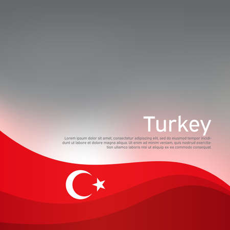 Abstract waving turkey flag. Creative shining background for design of patriotic turkish holiday cards. National poster. Cover, banner in national colors of turkey. Vector illustration