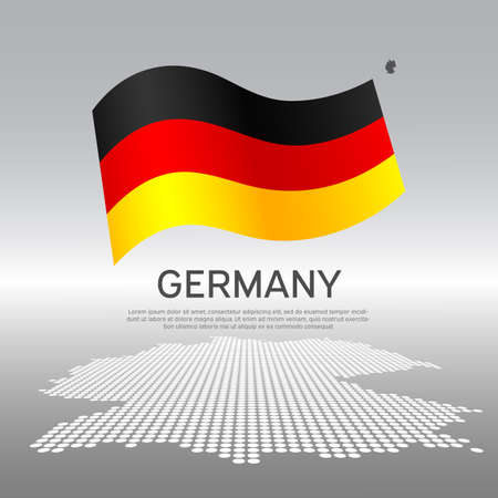 Germany wavy flag and mosaic map on light background. Creative background for the national German poster. Vector tricolor design. Business booklet. State german patriotic banner, flyer