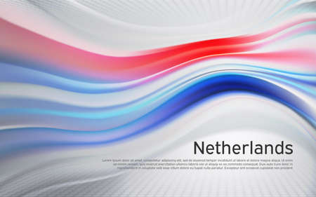 Netherlands flag background. Blurred pattern of light lines in the colors of the Dutch flag, business brochure. State banner, dutch poster, patriotic cover, flyer. Vector tricolor design
