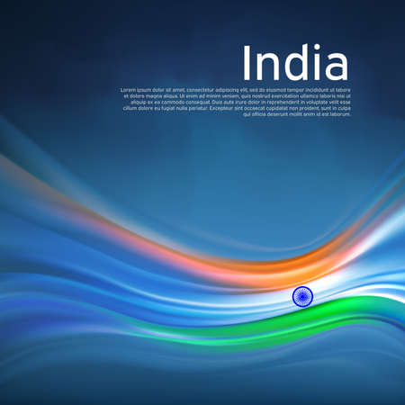 India abstract flag background. Blurred lines pattern of the light colors of the indian flag in the blue sky, business brochure. State banner, Indian poster, patriotic cover, flyer. Vector design