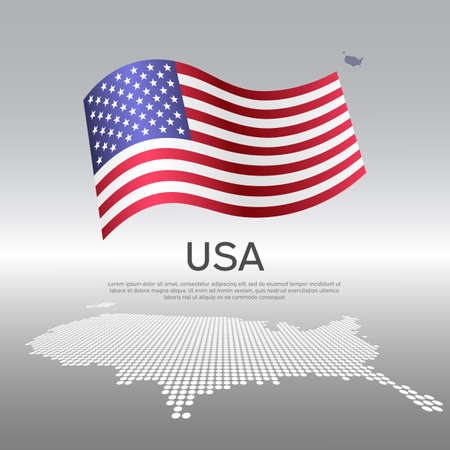 USA wavy flag and mosaic map on light background. Creative background for the national American poster. Vector design. Business booklet. us state patriotic banner, flyer