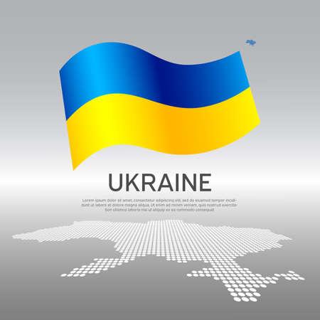 Ukraine wavy flag and mosaic map on light background. Creative background for the national ukrainian poster. Vector design. Business booklet. State ukrainian patriotic banner, flyer Illusztráció
