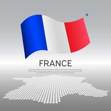 France wavy flag and mosaic map on light background. Creative background for the national French poster. Vector tricolor design. Business booklet. State French patriotic banner, flyer