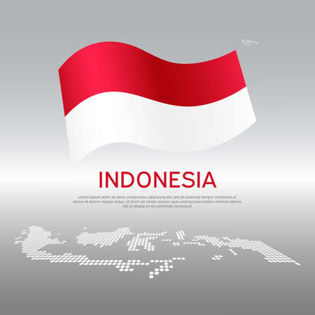 Indonesia wavy flag and mosaic map on light background. Creative background for the national indonesian poster. Vector design. Business booklet. State indonesian patriotic banner, flyer