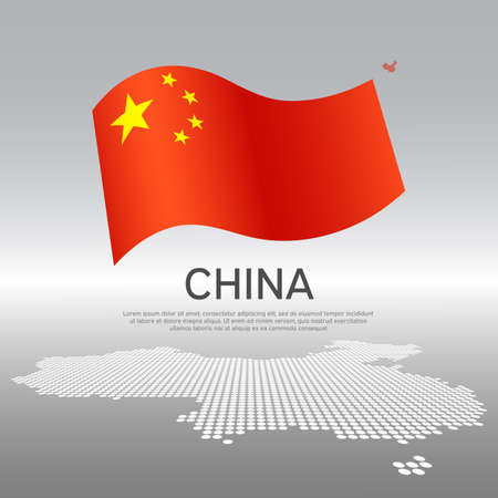 China wavy flag and mosaic map on light background. Creative background for the national chinese poster design. Business booklet. State chinese patriotic banner, flyer