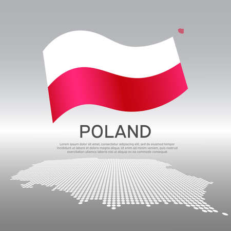 Poland wavy flag and mosaic map on light background. Creative background for the national Polish poster. Vector design. Business booklet. State polish patriotic banner, flyer Vectores