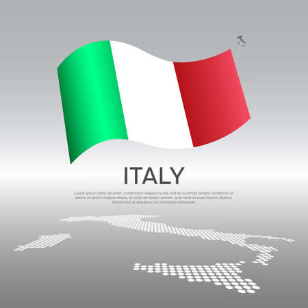 Italy wavy flag and mosaic map on light background. Creative background for the national italian poster. Vector design. Business booklet. State italian patriotic banner, flyer Vectores