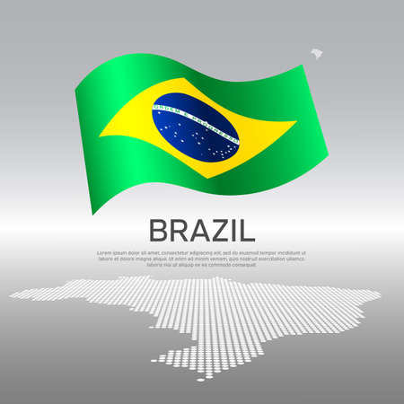 Brazil wavy flag and mosaic map on light background. Creative background for the national Brazilian poster. Vector design. Business booklet. State Brazilian patriotic banner, flyer
