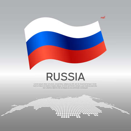 Russia wavy flag and mosaic map on light background. Creative background for the national Russian poster. Vector design. Business booklet. State russian patriotic banner, flyer Vectores