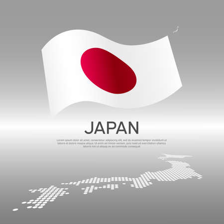 Japan wavy flag and mosaic map on light background. Creative background for the national Japanese poster. Vector design. Business booklet. State japanese patriotic banner, flyer Vectores