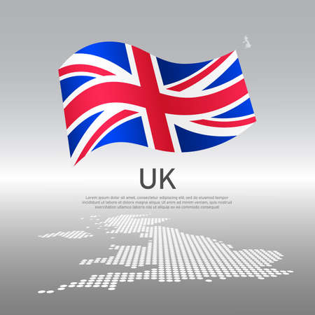 Uk wavy flag and mosaic map on light background. Creative background for the national British poster. Vector tricolor design. Business booklet. United kingdom state patriotic banner, flyer