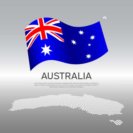 Australia wavy flag and mosaic map on light background. Creative background for the national Australian poster. Vector design. Business booklet. State Australian patriotic banner, flyer Vectores