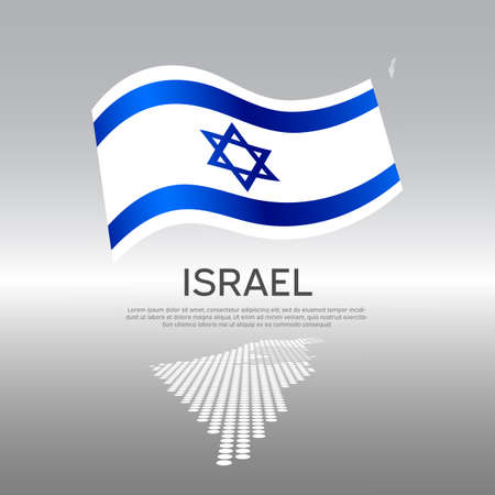 Israel wavy flag and mosaic map on light background. Creative background for the national Israeli poster. Vector design. Business booklet. State israel patriotic banner, flyer Vectores