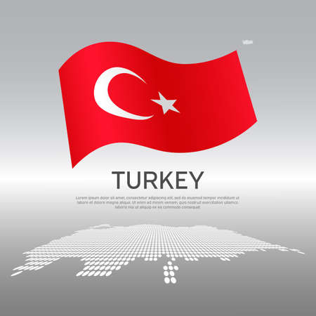 Turkey wavy flag and mosaic map on light background. Creative background for turkey national poster. Vector design. Business booklet. State turkish patriotic banner, flyer