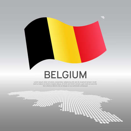 Belgium wavy flag and mosaic map on light background. Creative background for the national Belgian poster. Vector tricolor design. Business booklet. State Belgian patriotic banner, flyer Vectores