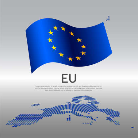 EU wavy flag and mosaic map on light background. Creative background for the national European Union poster. Vector design. Business booklet. EU state patriotic banner, flyer Vectores