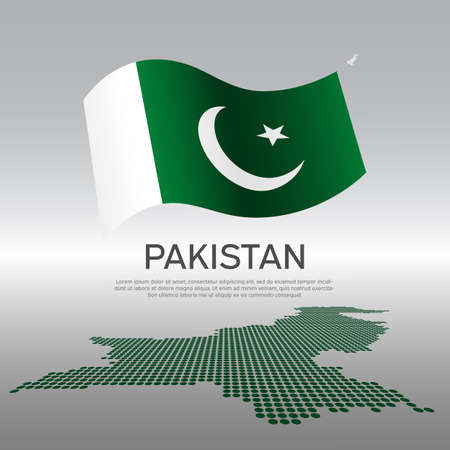 Pakistan wavy flag and mosaic map on light background. Creative background for the national pakistani poster. Vector design. Business booklet. State pakistani patriotic banner, flyer