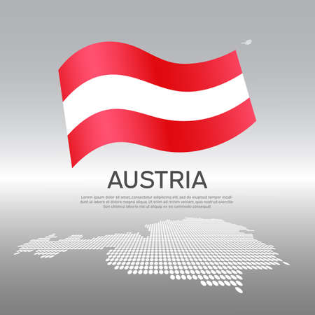 Austria wavy flag and mosaic map on light background. Creative background for the national Austrian poster. Vector design. Business booklet. Austrian state patriotic banner, flyer