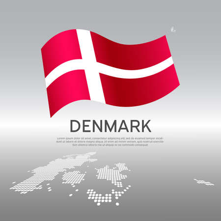 Denmark wavy flag and mosaic map on light background. Creative background for Denmark national poster. Vector design. Business booklet. State danish patriotic banner, flyer Vectores