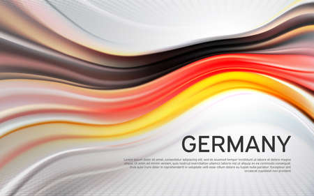 Germany flag background. Blurred pattern of light lines in the colors of the Germany flag, business brochure. State banner, German poster, patriotic cover, flyer. Vector tricolor design