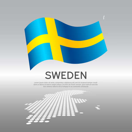 Sweden wavy flag and mosaic map on light background. Creative background for Sweden national poster. Vector design. Business booklet. State swedish patriotic banner, flyer Vectores