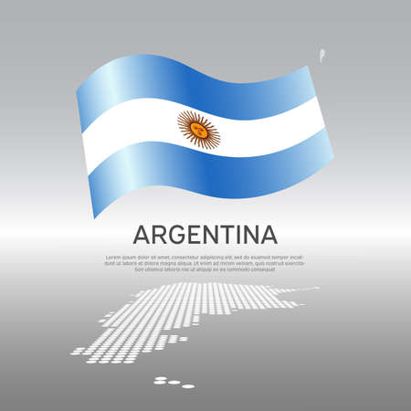 Argentina wavy flag and mosaic map on light background. Creative background for the national argentine poster. Vector design. Business booklet. State argentine patriotic banner, flyer