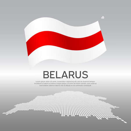 Belarus wavy flag and mosaic map on light background. Creative background for the national poster of Belarus. Vector design. Business booklet. State Belarusian patriotic banner, flyer Vectores