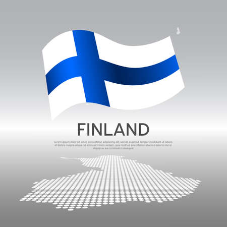 Finland wavy flag and mosaic map on light background. Creative background for finland national poster. Vector design. Business booklet. State finnish patriotic banner, flyer