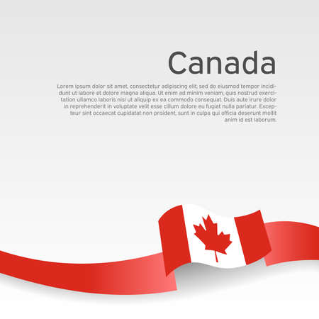 Canada flag background. Canada flag wavy ribbon on white background. National poster. Business booklet. Vector design. State canadian patriotic banner, flyer Vectores